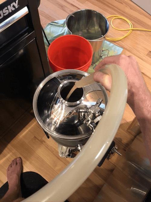 transferring wort to the fermenter