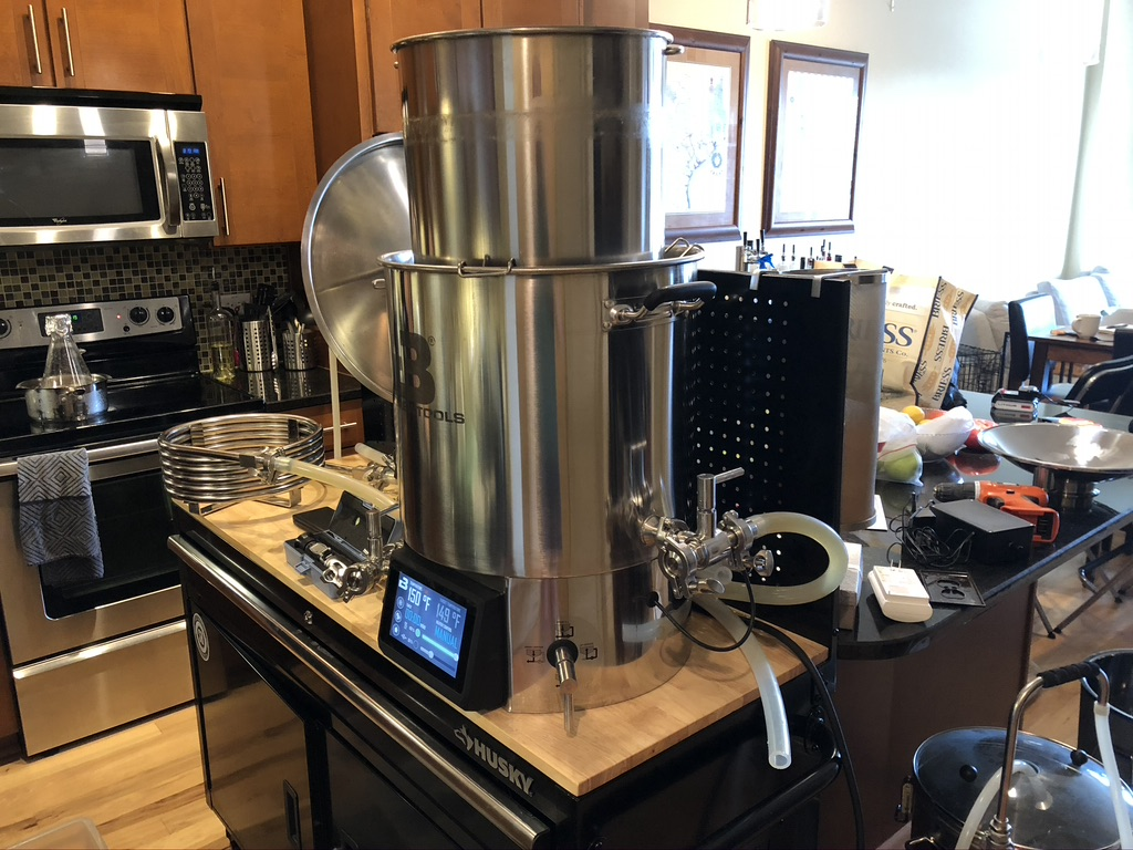 brewing equipment in the kitchen