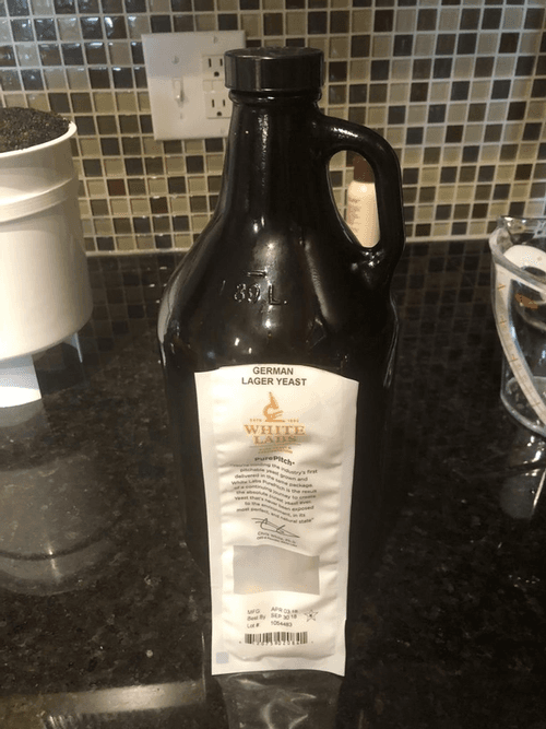 a growler and yeast packet for a yeast starter