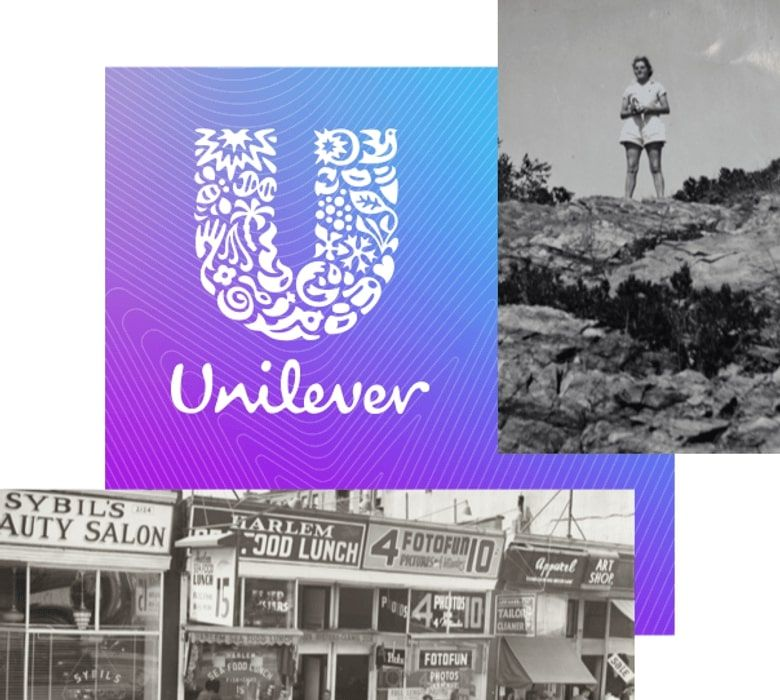 Black and white images of a woman and a storefront, and the unilever logo