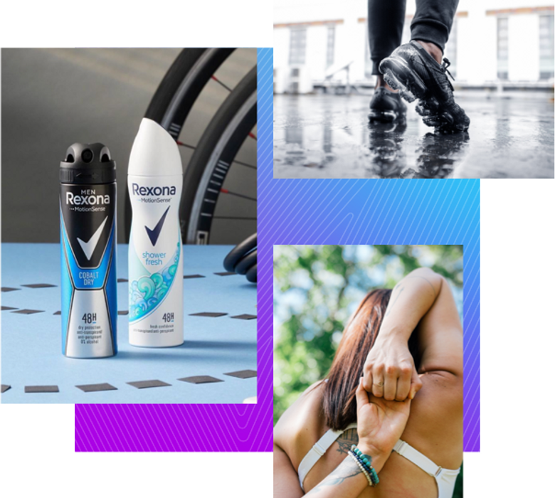 a collection of images, cans of deodorant some shoes and a women stretching