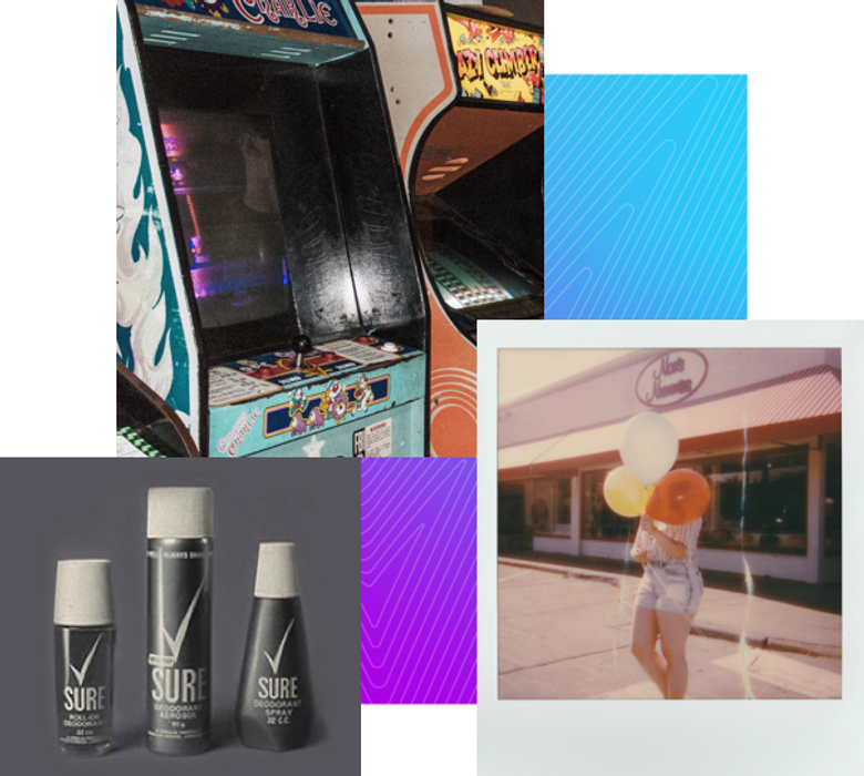 A selection of vintage photos from the 80s, including some arcade machines and woman holding balloons
