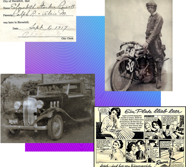 Vintage memorabilia including a photo of an old car and man standing with a motocycle