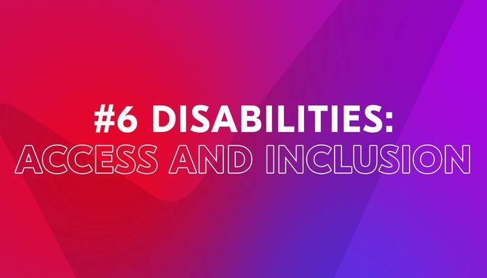 """Video cover image with text """"Disabilities: Access and Inclusion"""""""