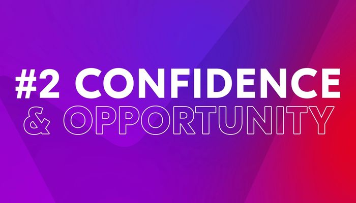 """Video cover image with text """"Confidence and Opportunity"""""""