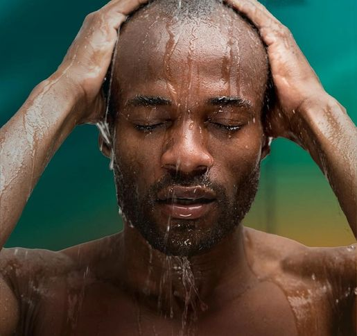 man recovering in shower