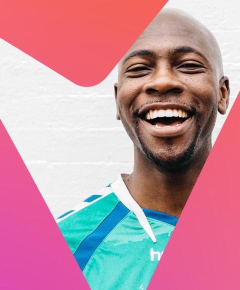 happy man in a football jersey