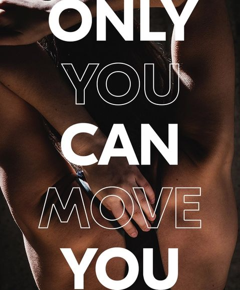 A women stretching her arm behind her back with the words you can move across the image