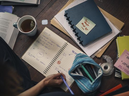 Exercise books in an office