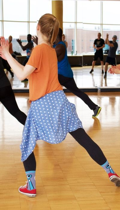 young girl moving and dancing in dance studio