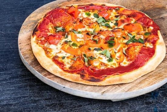 Vegatarpizza med peberfrugt