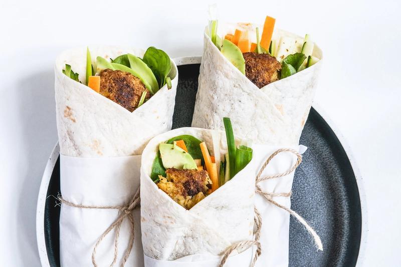 Vegetar wraps med falafel
