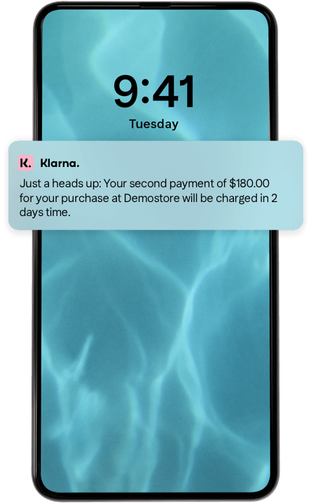 Screen shot of helpful reminders that payments are due.