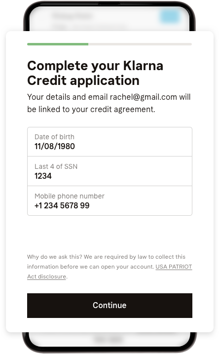 Simple 4-question credit application