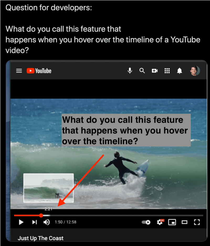 Timeline hover preview YouTube