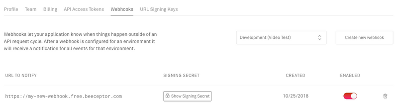 Unique signing secret on each webhook you create
