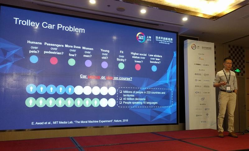 Ke Xu stood with a slide describing the Trolley Problem