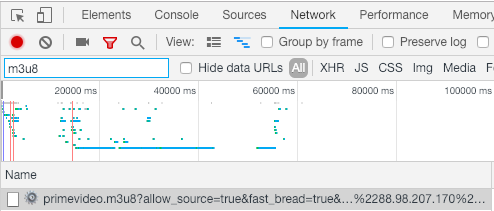 Chrome network inspector showing a request for a .m3u8