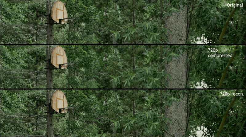 Image showing a raw and reconstructed frames in a video
