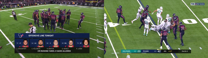 Screenshot showing two frames from the same football game side-by-side