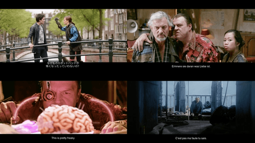 "A selection of video frames from ""Tears of Steel"" showing subtitles in a variety of languages."