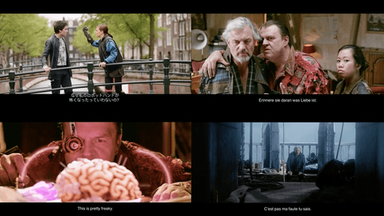 """A selection of video frames from """"Tears of Steel"""" showing subtitles in a variety of languages."""