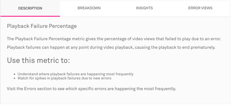 The Description Tab gives a concise definition of metrics including the Playback Failure Percentage
