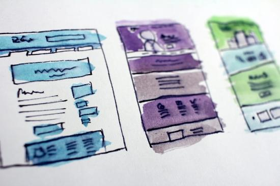 Designed pages with watercolor