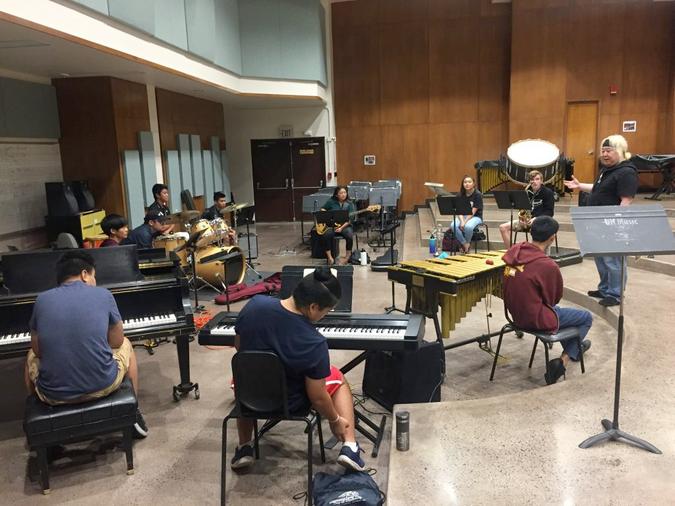 PMI Students working with trumpet star Eric Miyashiro
