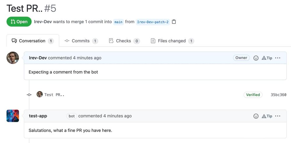 Screen shot of a github app's comment