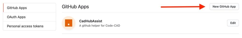 screen shot of github's app settings page
