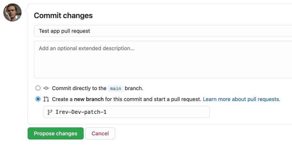 Screen shot of Pull request UI