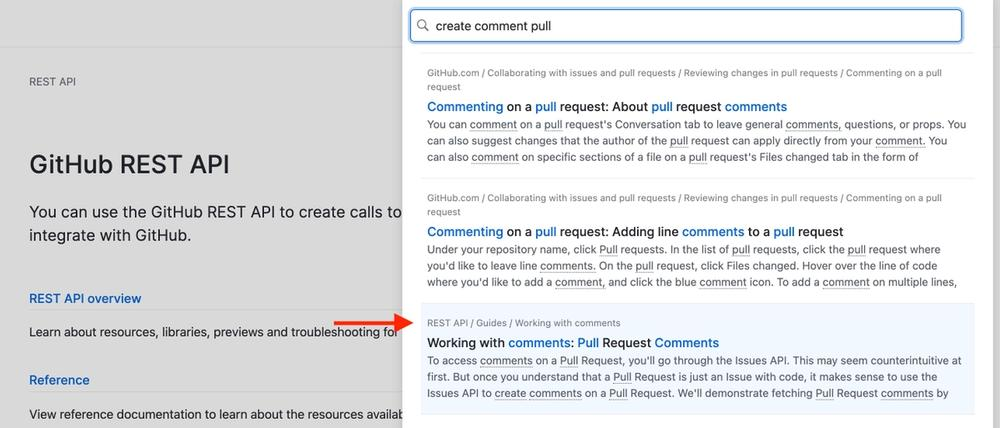 Screen shot of Github's api docs