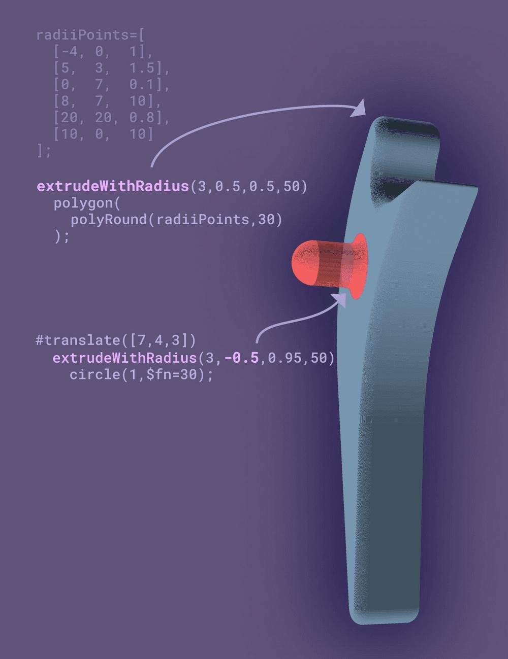 extrudeWithRadius api example