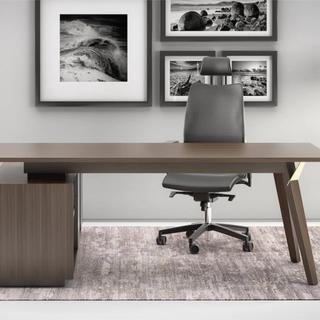 Executive desk with black leather chair