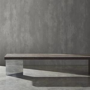 Bau bench with wood and chrome legs