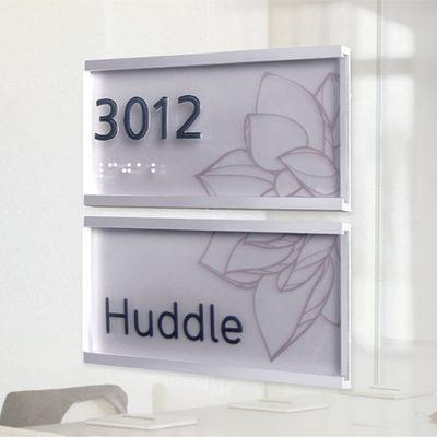 Artistic sign on glass door