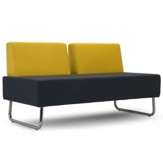 Two seat bench with yellow back, blue seat, and chrome legs