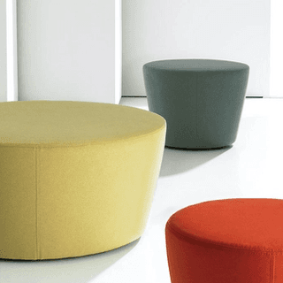Yellow, green, and red ottomans