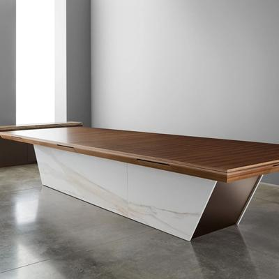 Carina table with walnut top and white marble sides