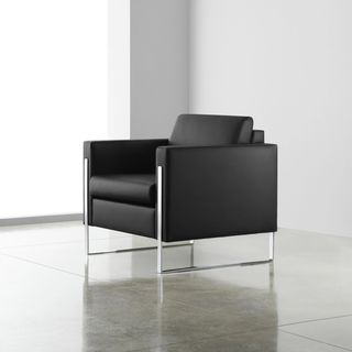 International II black leather chair with chrome legs side profile