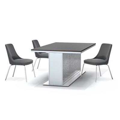 Facade table with black chairs