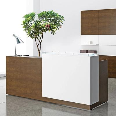 Reception area with white and walnut facing