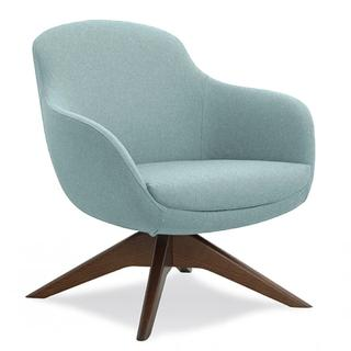 Chair with light blue fabric and dark brown finish on wood base