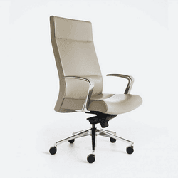 Leather white executive chair on wheels