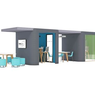 Oasis pods in gray and green and blue