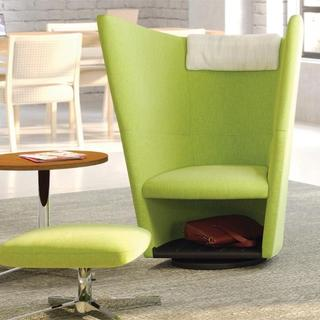 Green privacy chair with ottoman