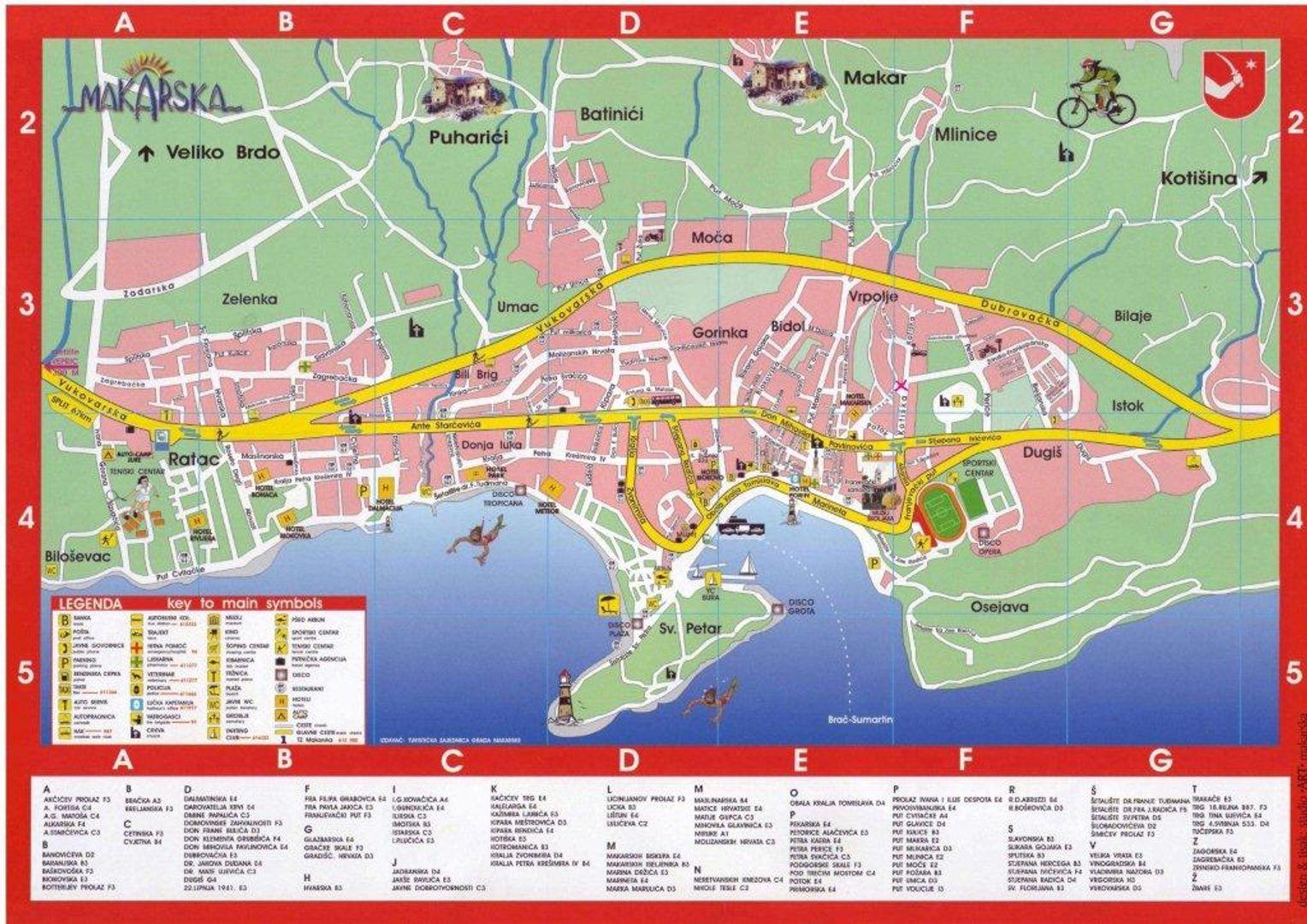 Plattegrond van Makarska