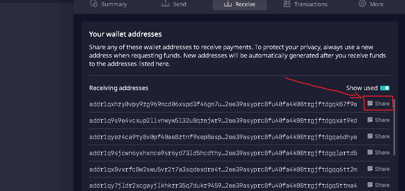 Sharing the public address on Daedalus wallet.