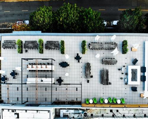 Rooftop with furniture and bushes placed in a grid from above